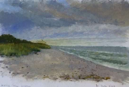 Waiting Out a Storm, Oil Sketch as Evening Falls