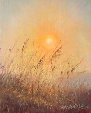 Sunrise & Sea oats. plein air oil painting by Daniel Ambrose