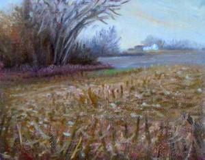 Harvested Cornfield in Illinois, oil study by Daniel Ambrose
