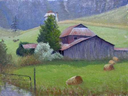 Painting by Daniel Ambrose of North Carolina farm