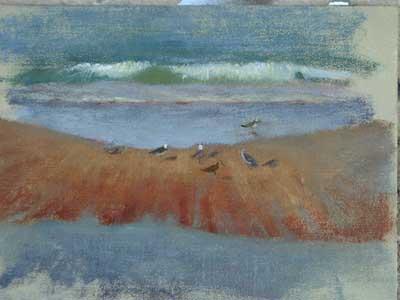 Plein air oil sketch of sandbar by Daniel Ambrose
