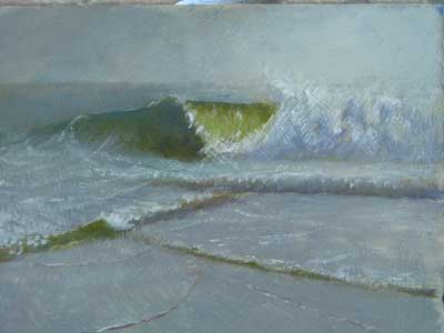 Plein air painting of a wave by Daniel Ambrose
