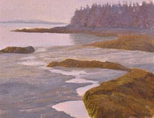 Tonalist plein air painting of Drift Inn beach, Port Clyde, Maine