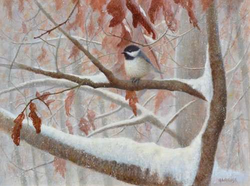 Early Snow, Chickadee, egg tempera painting by Ambrose