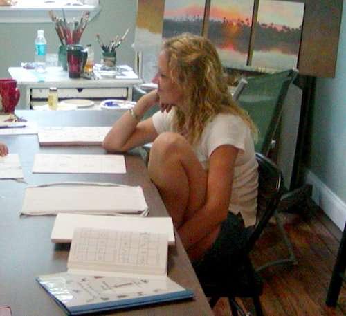 Donna Metts teaching art camp in Ambrose Art studio. 2006