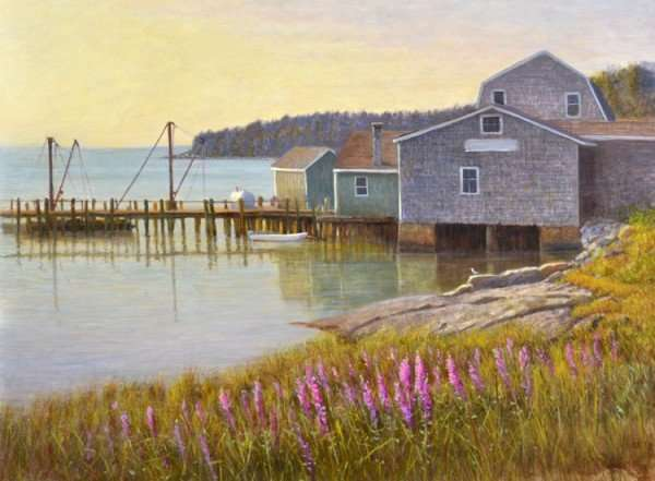 Long Cove, Tenants Harbor, Maine Oil on Panel. Painting by Daniel Ambrose