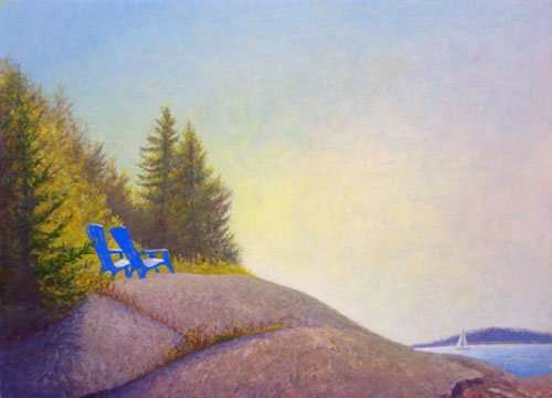Egg tempera painting of two blue chairs on a rock in Spruce Head Island Maine, by Daniel Ambrose