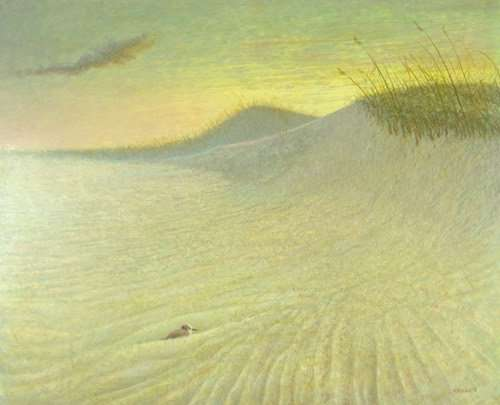 Nesting, egg tempera painting of sand dunes and bird by Daniel Ambrose