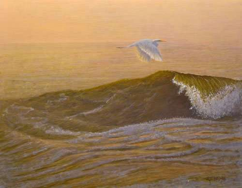 Solist, egere flying over wave. Egg tempera painting by Daniel Ambrose