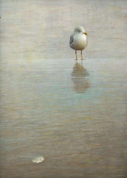Intermission, egg tempera painting of a single bird and sand dollar by Daniel Ambrose.