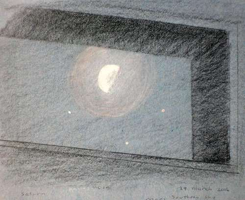 Waning moon, with Antares, Mars and Saturn, Pencil on toned paper.