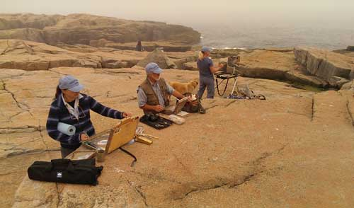 Artists painting plein air, Schoodic Point, Maine,  Elienne Basa, Daniel Ambrose, Mary Erickson