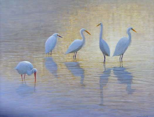 Five for Silver, egg tempera painting by Daniel Ambrose of five white birds