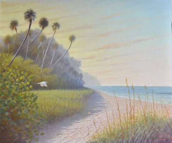 Egg tempera painting by Daniel Ambrose of egret flying ove Florida beach