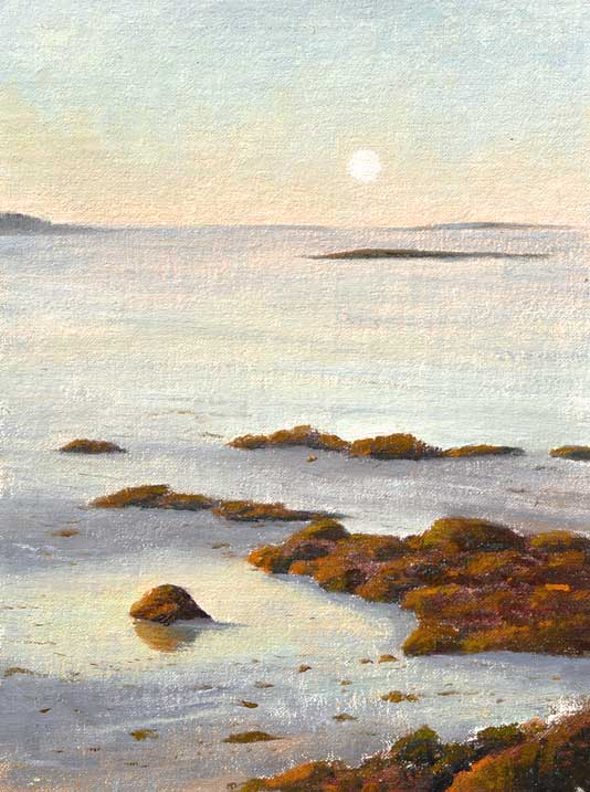 Maine Moonset at Sunrise. Plein air oil painting by Daniel Ambrose