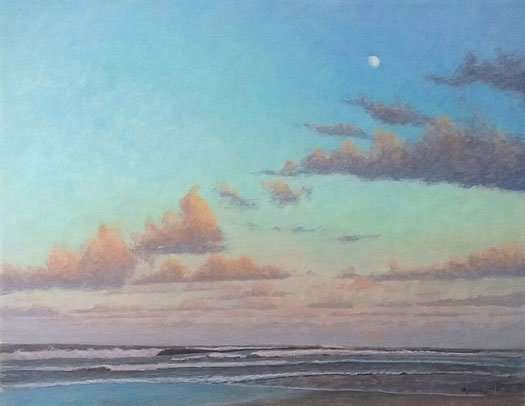 Long Ago and Faraway, egg tempera painting of clouds over the ocean by daniel ambrose