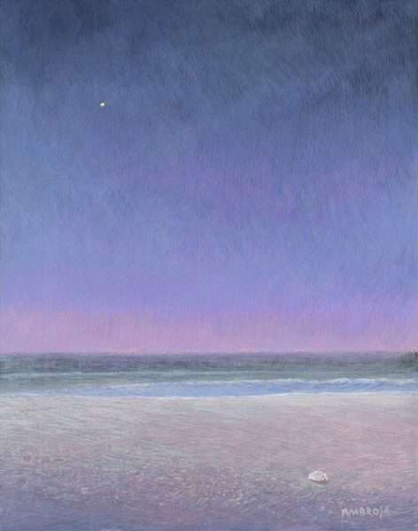 Love and Beauty, egg tempera painting of venus over the ocean at dawn by Daniel Ambrose. 2004