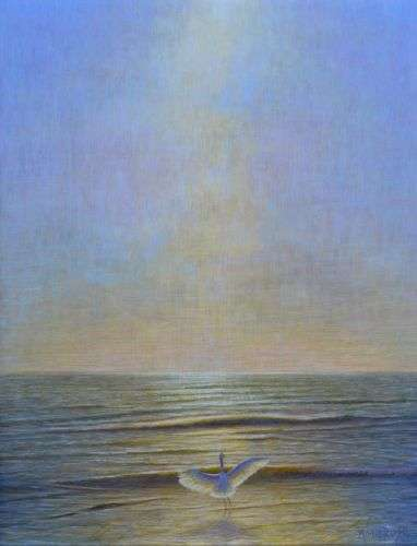 Grace, egg tempera painting of egret in ocean by Daniel Ambrose