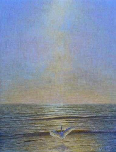 Grace, egg tempera painting of egret in ocean by Daniel Ambrose