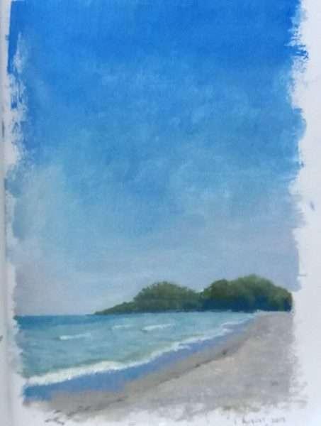 Pristine Blue, oil color sketch of Venice beach, Florida, by Daniel Ambrose