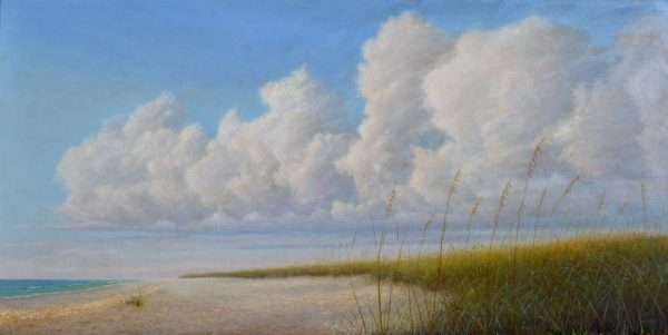 Summer Remembered. oil painting of clouds floating over sea oats on Florida beach, by Daniel Ambrose