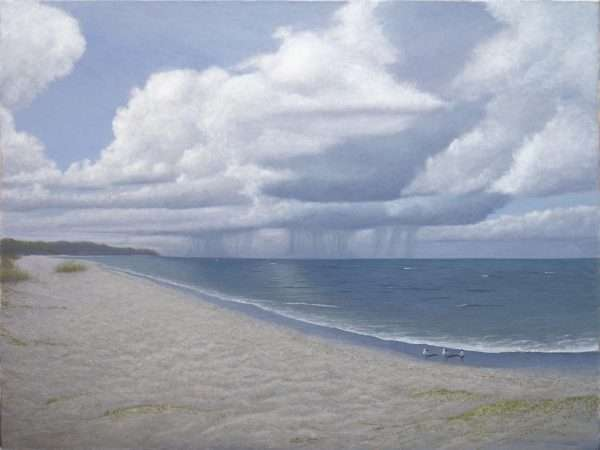 Summer Thunder oil painting of distant thunderstorm over Florida Gulf Coast