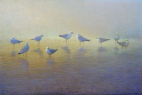 Egg tempera painting of nine birds