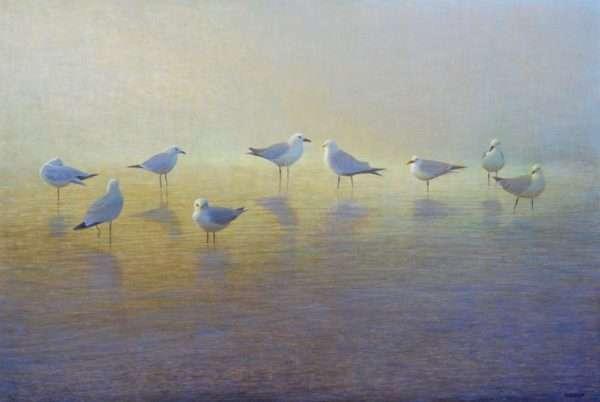 Egg tempera painting of nine birds