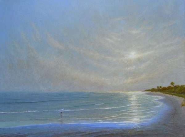 Island Pearl, oil painting of island shore with egret, by Daniel Ambrose