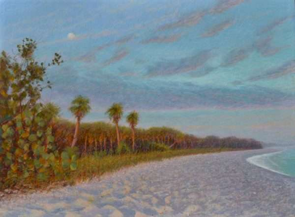 Egg tempera painting of moonrise over Casperson beach, Venice Florida