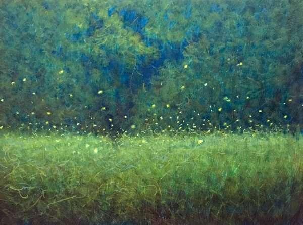 egg tempera painting Fireflies at Dusk fireflies over a green field at dusk