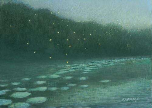 Egg tempera painting of fireflies in the moonlight by Daniel Ambrose