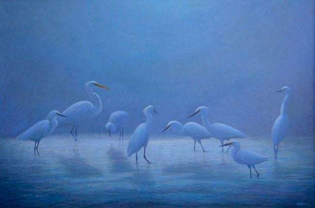 Eight for a Wish, egg tempera painting of 8 birds in moonlight by Daniel Ambrose