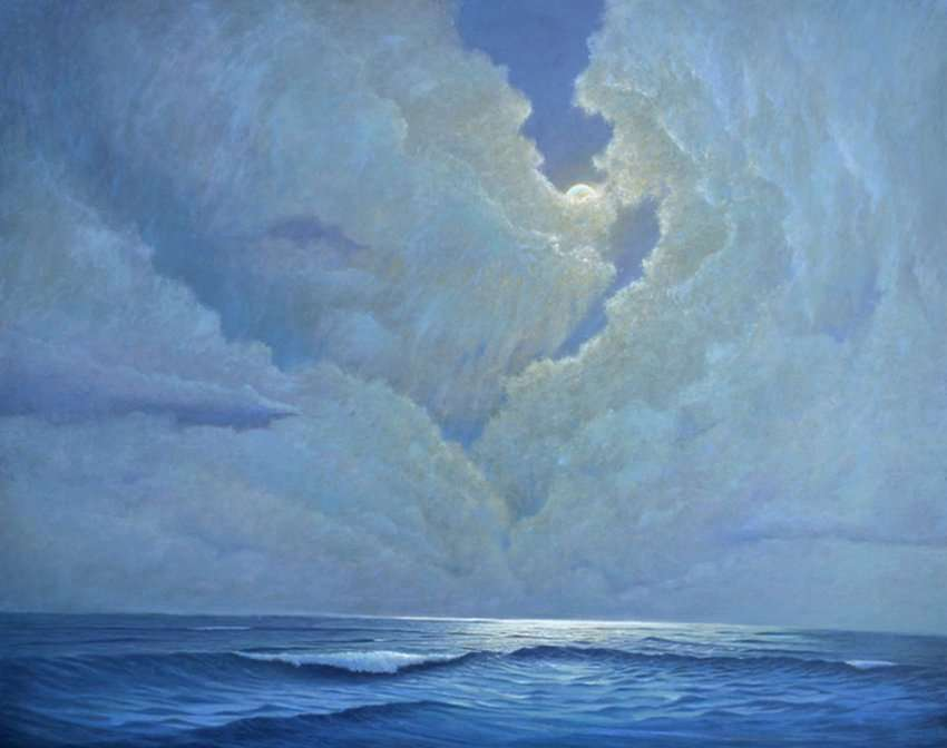 Live by the Sea, Love by the Moon, oil painting of moonlight over ocean by Daniel Ambrose
