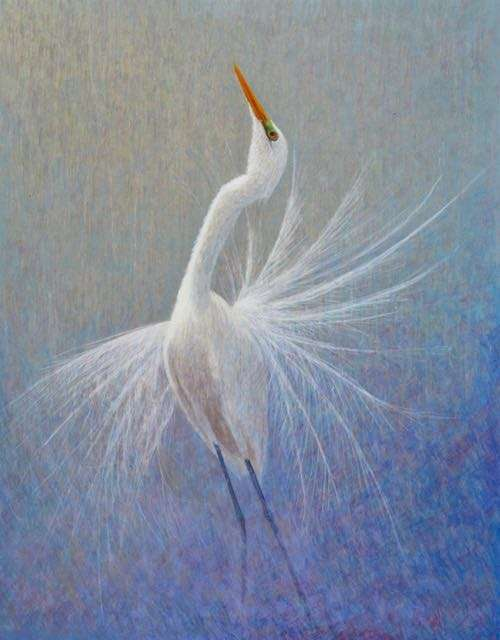 One for Sorrow, egg tempera paintings of great egret by Daniel Ambrose