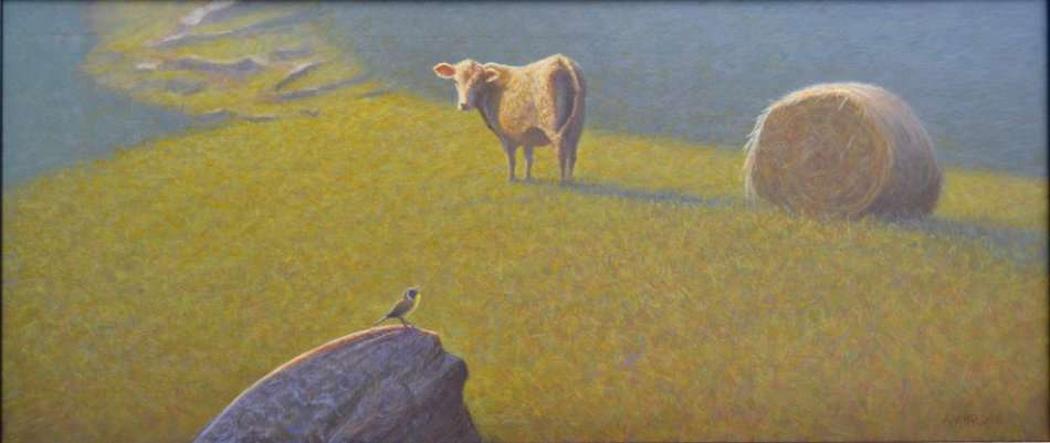A Summer Song, egg tempera painting of charolais cow, haybale and songbird in a pasture