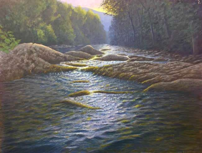 Travelin' Through. Egg tempera painting of the South Toe River by Daniel Ambrose