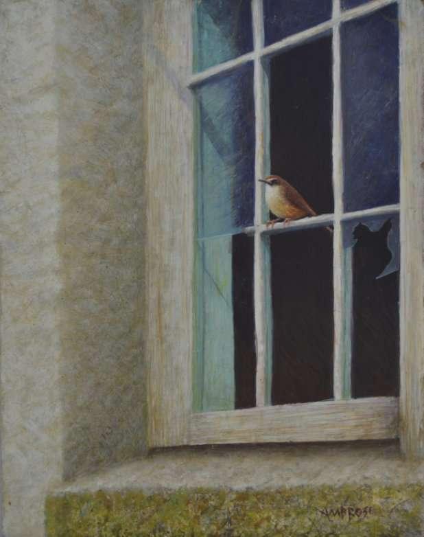Abandoned Beauty, egg tempera painting of Carolina Wren in broken window of old schoolhouse