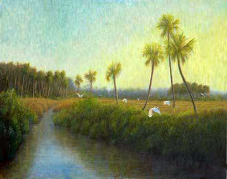 Painting of birds flying over Thompsons creek, Ormond Beach