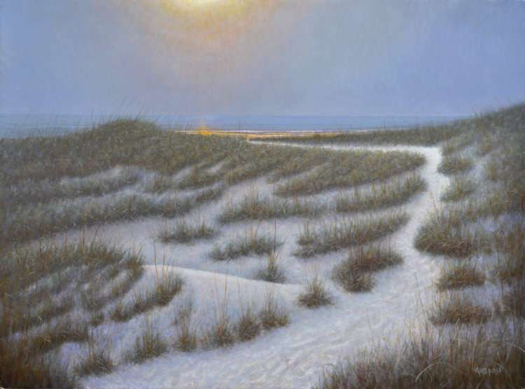Wolf Moon, egg tempera painting, moonrise over dunes