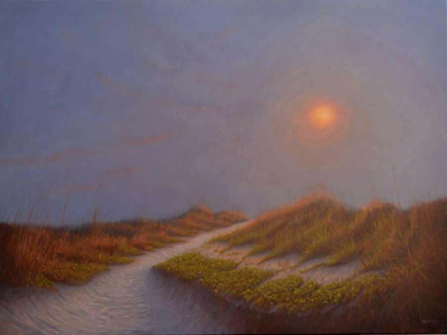 The beckoning, oil painting of beach path to rising sun by Daniel Ambrose