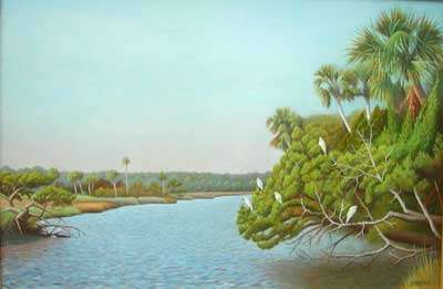 Brightwater, oil painting of Bulow creek with trees and egrets by Daniel Ambrose
