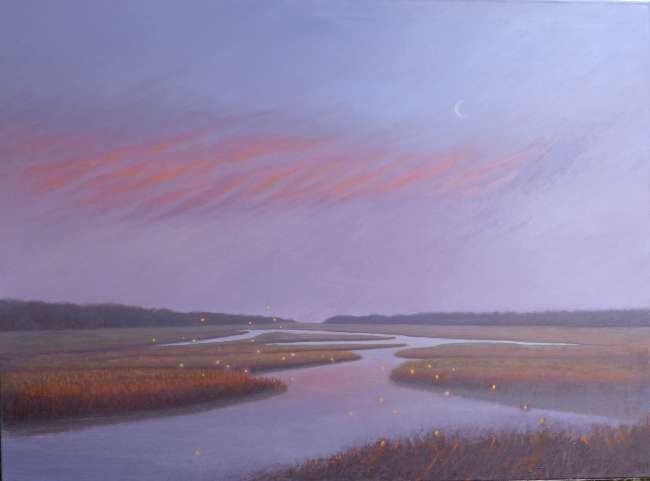 A Flicker of Time oil painting of fireflies over marsh by Daniel Ambrose