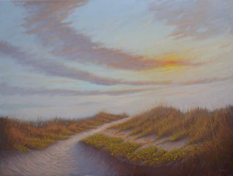 The beckoning sea. Oil painting of dune path and sky