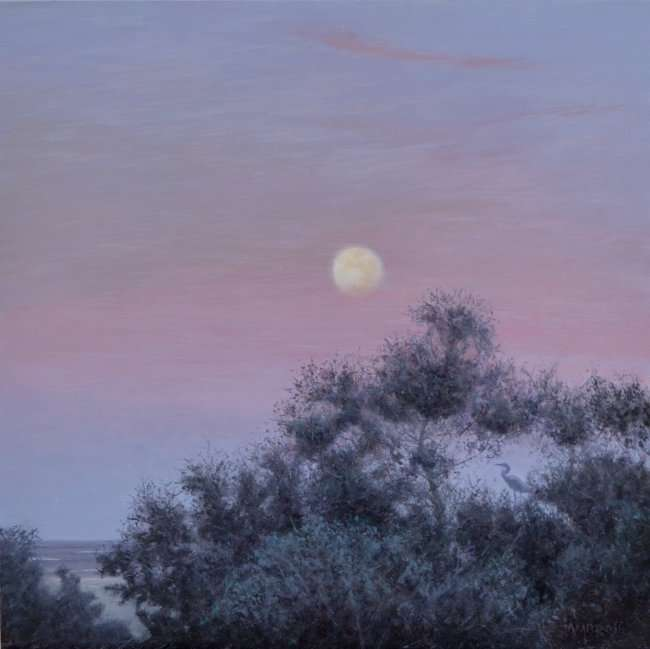 Oil painting of moonrise with heron