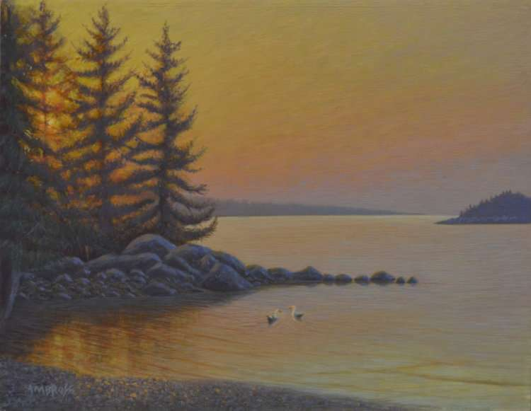 egg tempera painting of a cove at sunset in Port Clyde, Maine