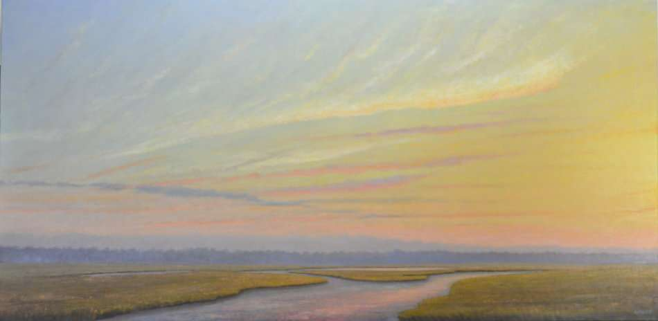 Birdsong oil painting of marsh at sunrise by Daniel Ambrose. Available at Hughes Gallery