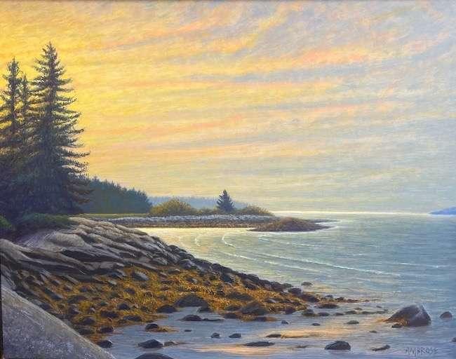 Egg tempera painting of sunrise at Drift Inn beach, Port Clyde, Maine by Daniel Ambrose