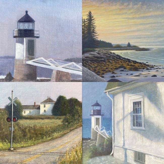 A collage of Maine paintings for sale by Daniel Ambrose