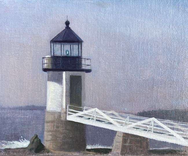 Marshall Point Light, oil painting by Daniel Ambrose 2021
